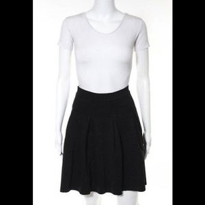 Athe Black Pleated A-line Skirt